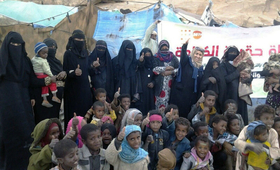 Women and children displaced from Taizz City receive services from UNFPA. © UNFPA Yemen